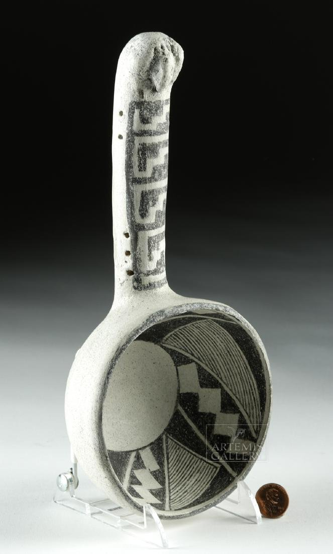 Ancient Anasazi Pottery Black-on-White Ladle - 2