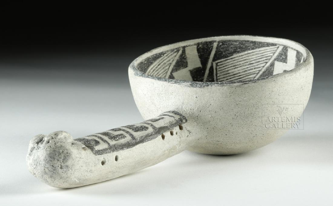 Ancient Anasazi Pottery Black-on-White Ladle - 4