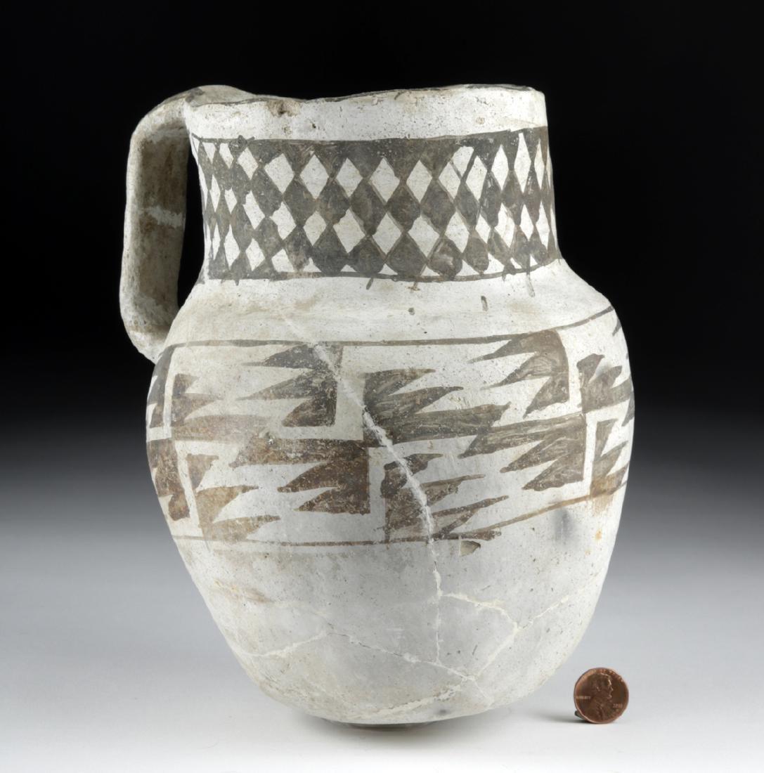 Large Anasazi Pottery Pitcher - Black on White