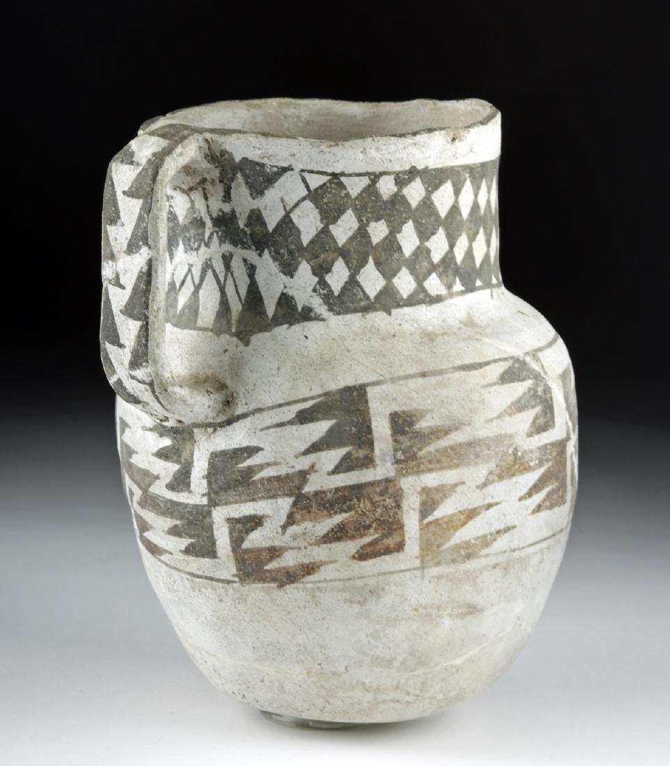 Large Anasazi Pottery Pitcher - Black on White - 3