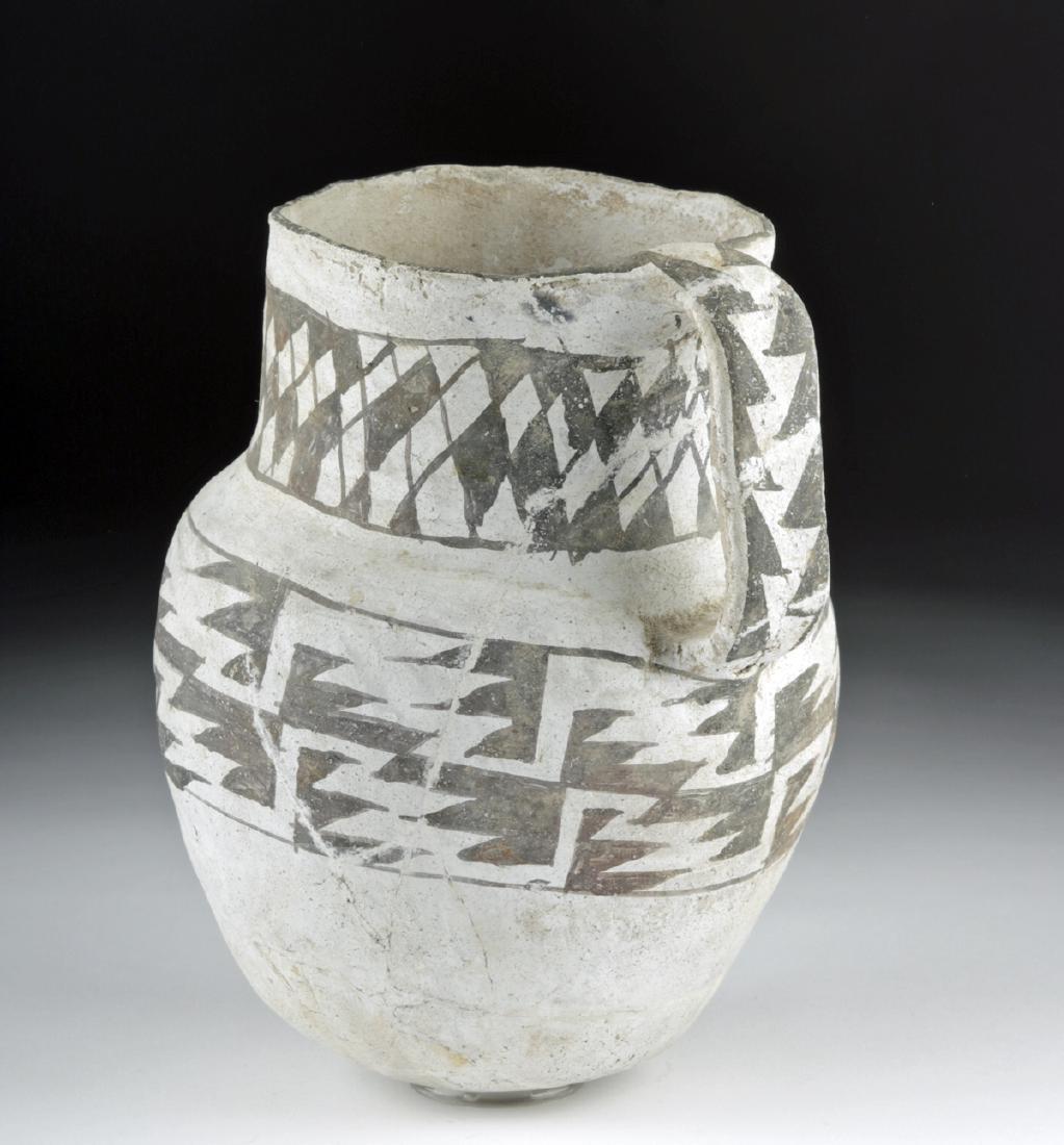 Large Anasazi Pottery Pitcher - Black on White - 4