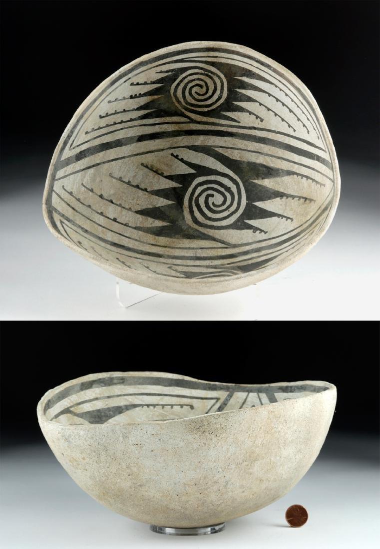 Mimbres Black-on-White Pottery Bowl
