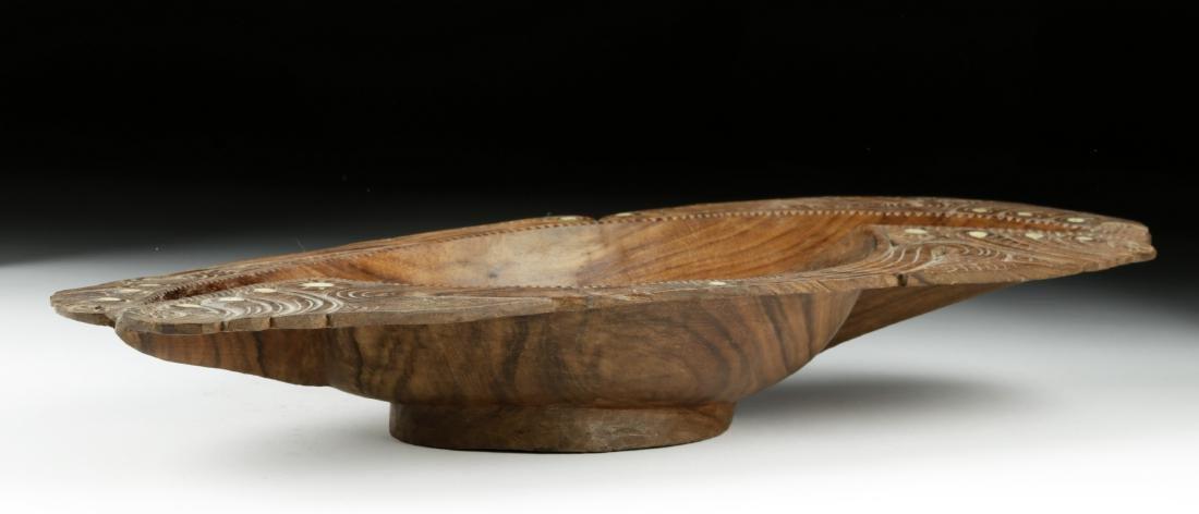 20th C. Maori Wood Bowl with Abalone Inlays - 4