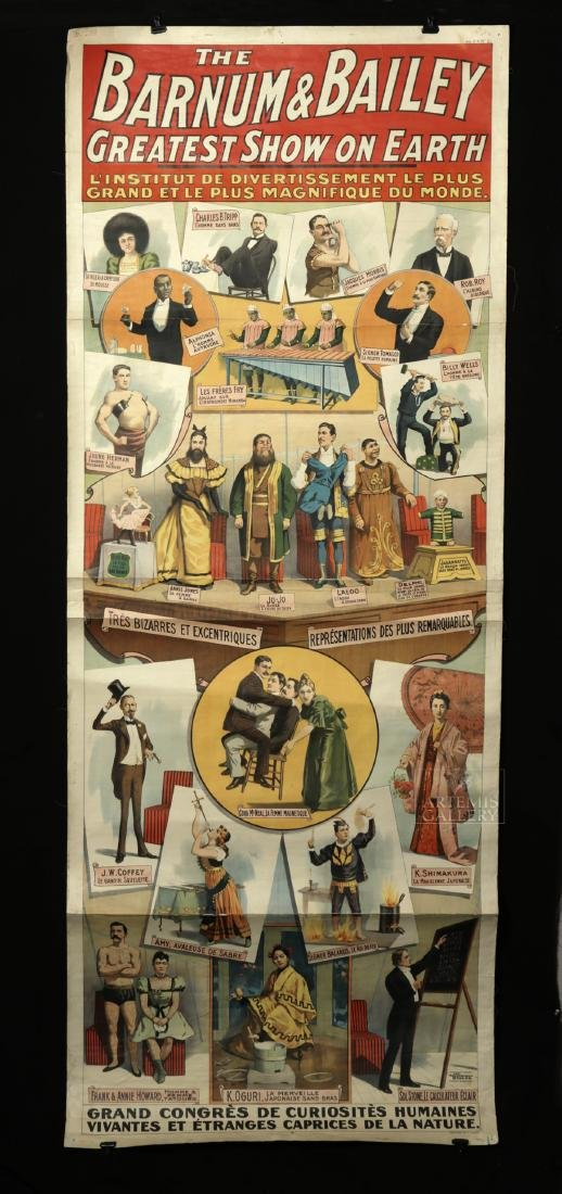Original French 19th C. Barnum & Bailey Circus Poster