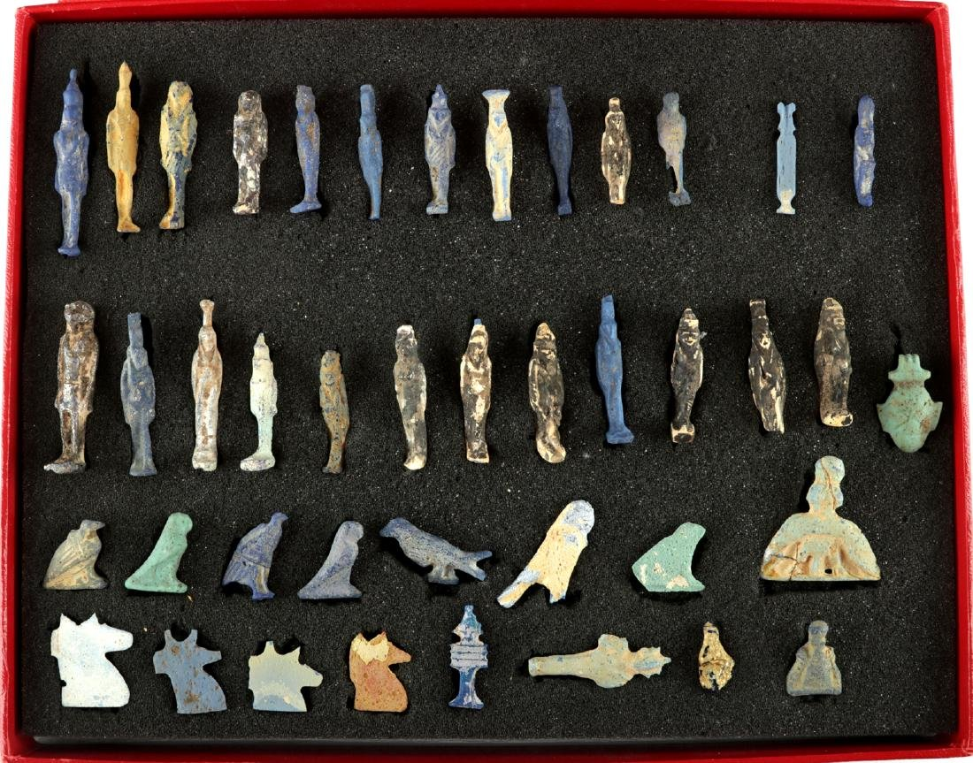 Collection of 42 Egyptian Faience Amulets