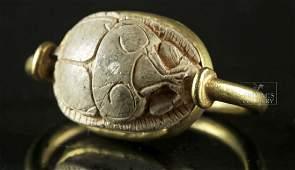 Egyptian Steatite Scarab  Modern 21K Gold Ring 66 g