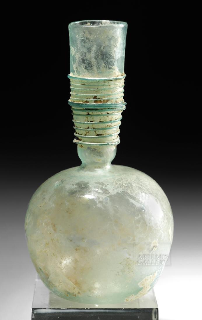Late Roman / Byzantine Glass Flask w/ Thin Trailing - 2