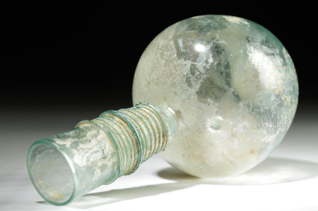 Late Roman / Byzantine Glass Flask w/ Thin Trailing - 5