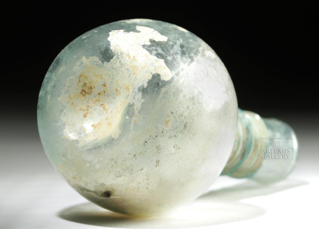 Late Roman / Byzantine Glass Flask w/ Thin Trailing - 6