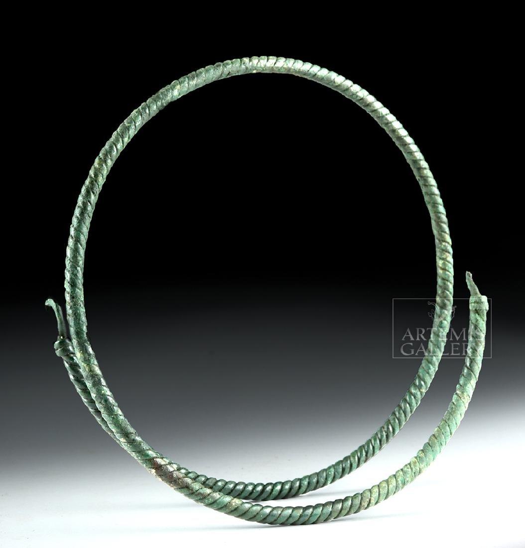 Large Viking Bronze Torc - Spiral Motif - 4