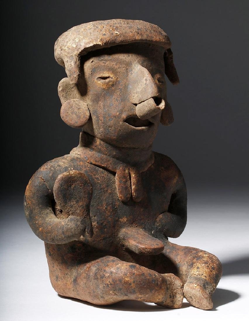Nayarit Pottery Seated Male with Rattle - 4