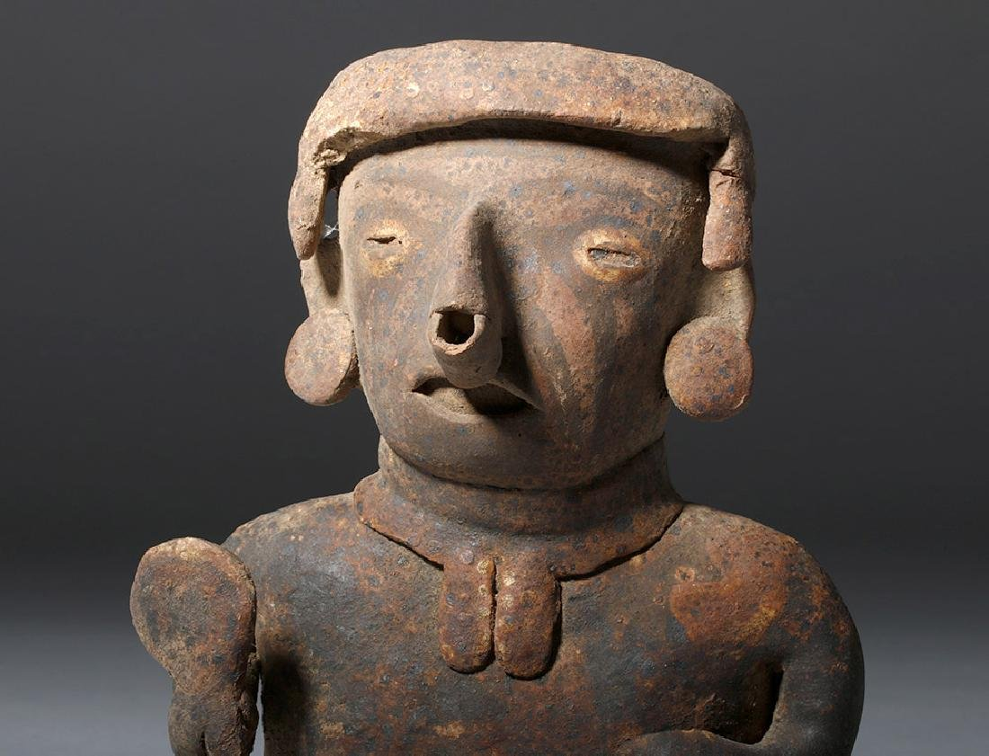 Nayarit Pottery Seated Male with Rattle - 6