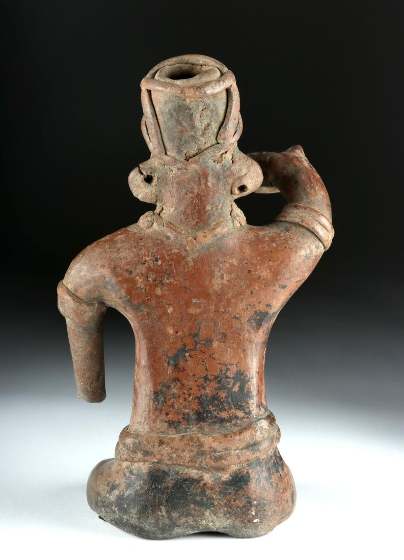 Colima Pottery Seated Male Figure - 4