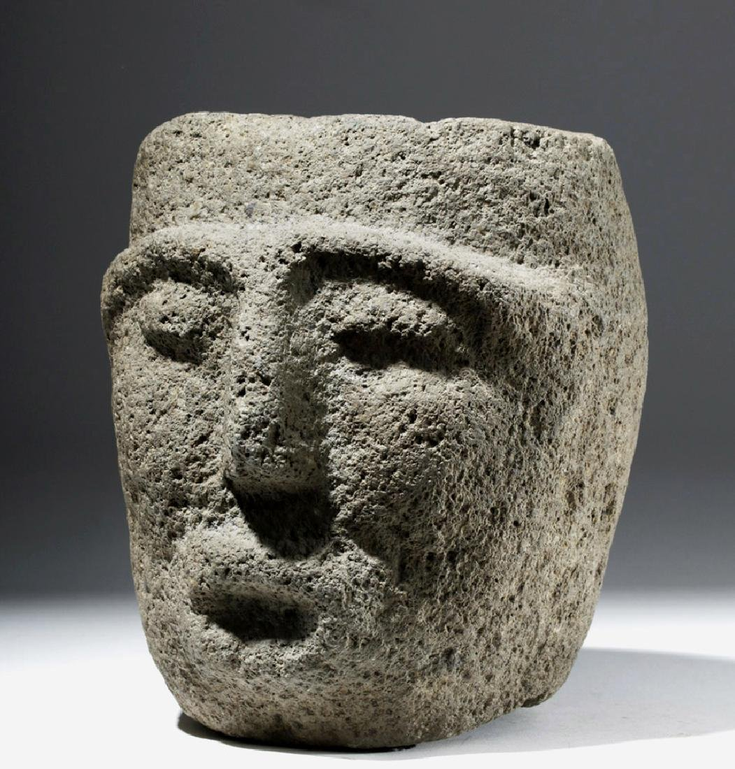 Large Important Costa Rican Stone Head Mortar