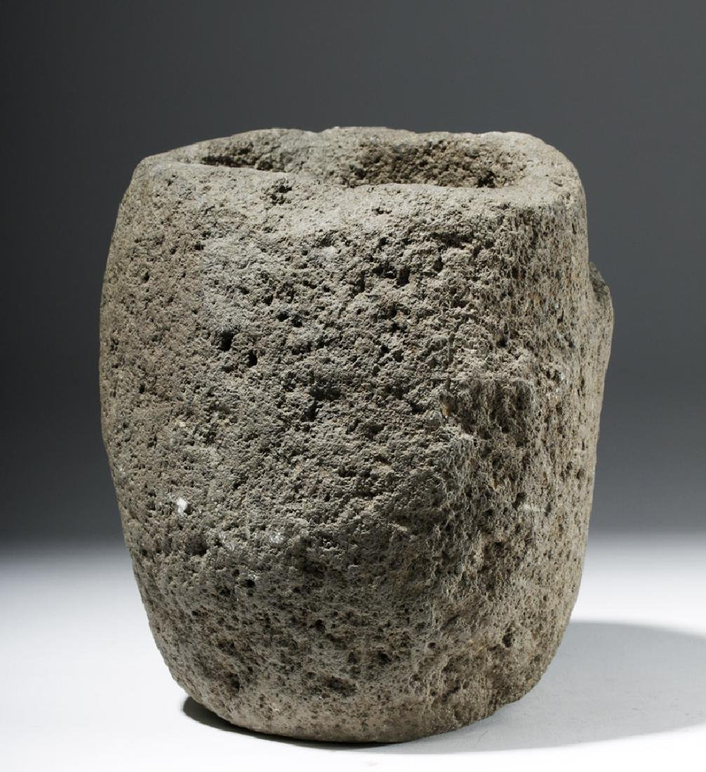 Large Important Costa Rican Stone Head Mortar - 3