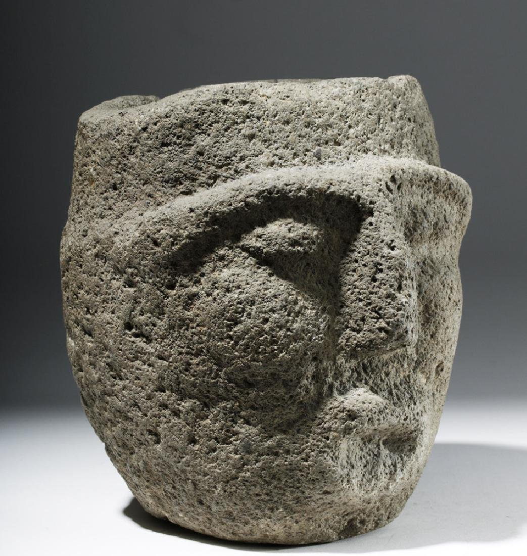 Large Important Costa Rican Stone Head Mortar - 4