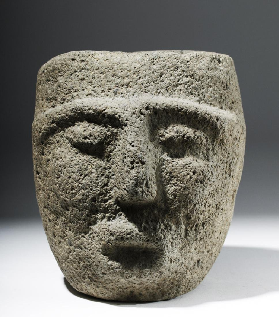 Large Important Costa Rican Stone Head Mortar - 5