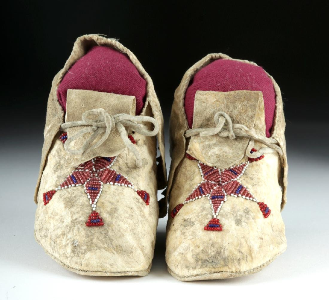 20th C. Plains Indian Beaded Hide Child Moccasins (pr)