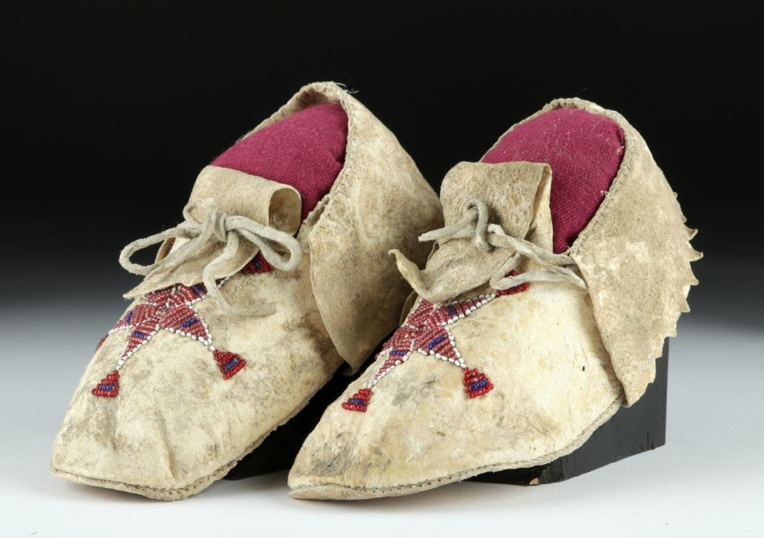 20th C. Plains Indian Beaded Hide Child Moccasins (pr) - 2