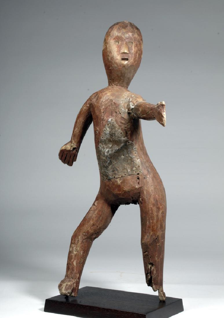 20th C. African Sukuma Wood / Metal Ancestor Figure