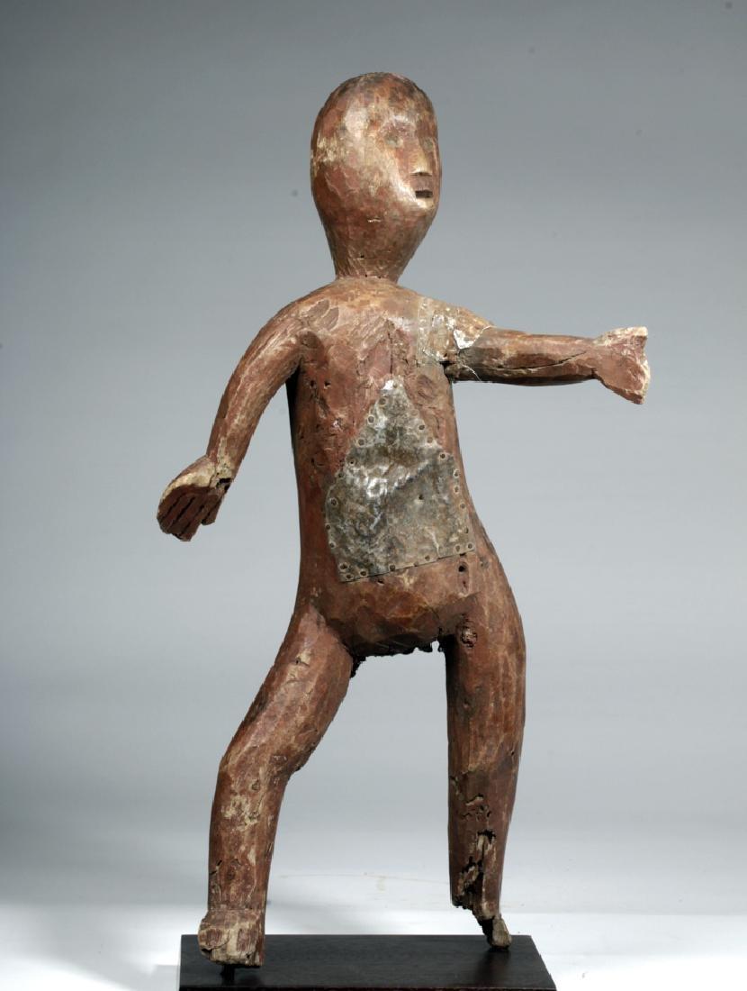20th C. African Sukuma Wood / Metal Ancestor Figure - 2