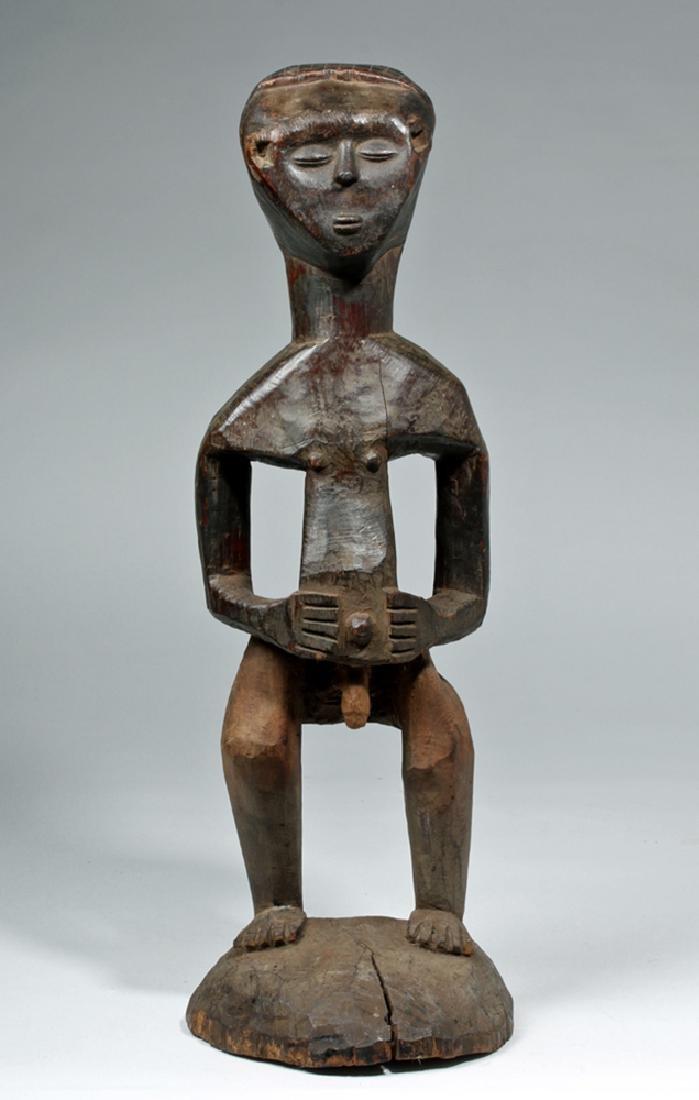 Early 20th C. African Kuba Wood Standing Male Figure