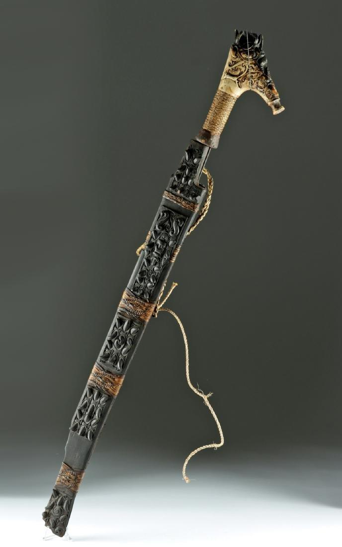 19th C. Dayak Mandau Sword w/ Bone Handle