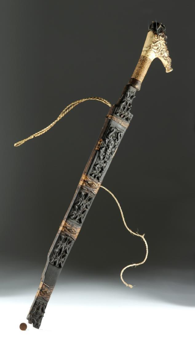 19th C. Dayak Mandau Sword w/ Bone Handle - 2