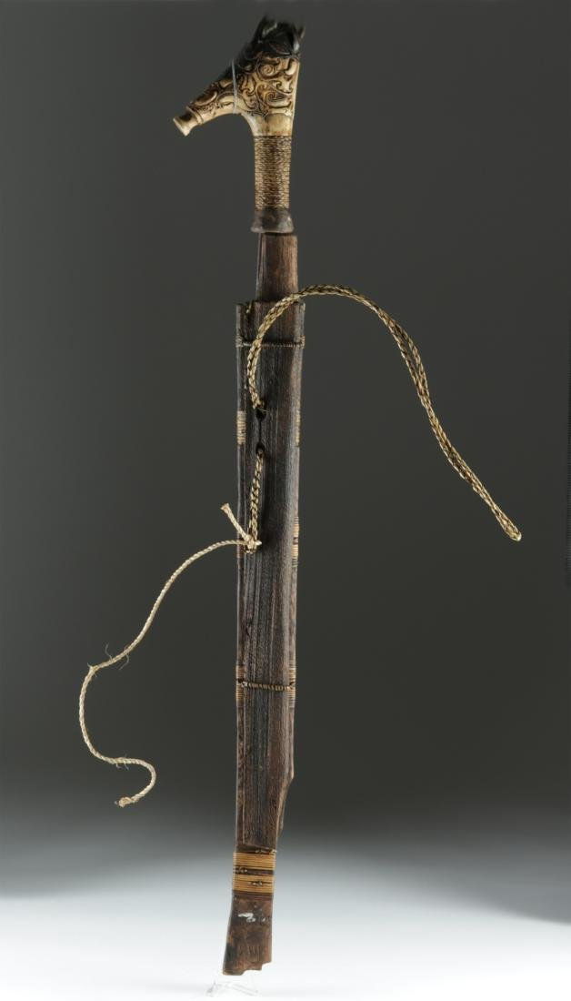 19th C. Dayak Mandau Sword w/ Bone Handle - 3