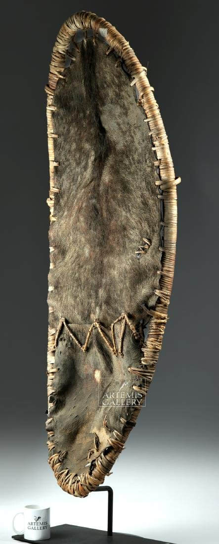 Large Early 20th C. Papua New Guinea Pig Skin Shield