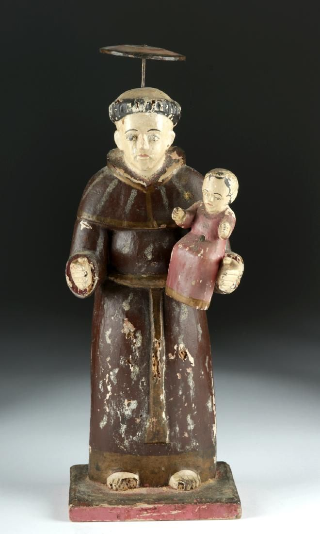 19th C. Mexican Wooden Santo - St. Anthony of Padua