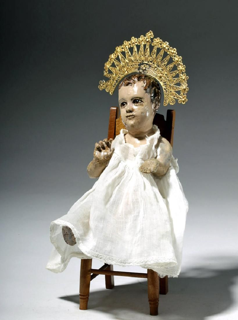19th C. Mexican Wood Santo - Seated Christ Child