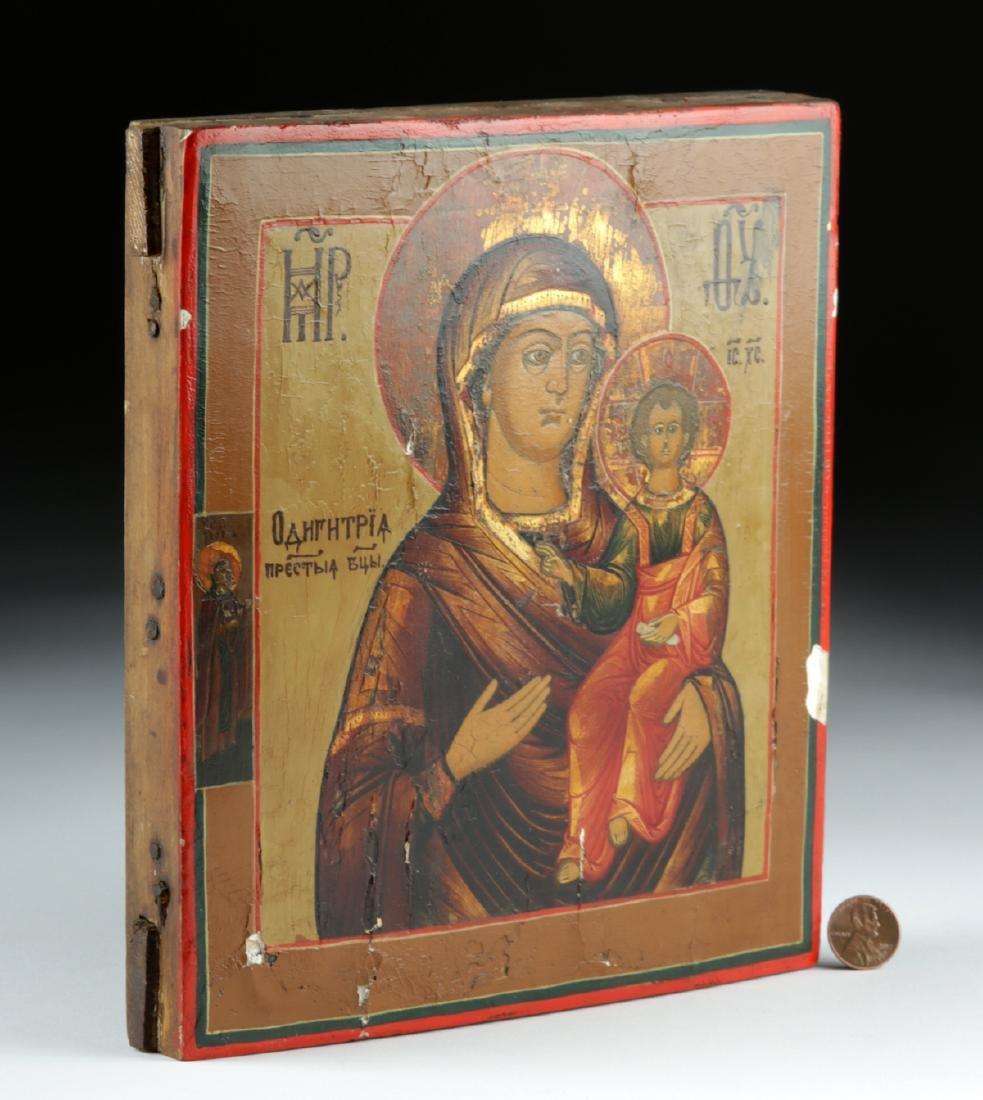 19th C. Russian Wooden Icon - Virgin & Child - 2