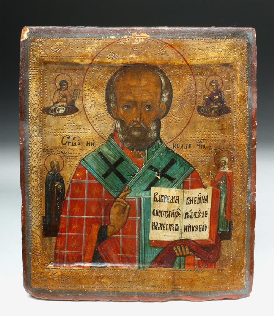 19th C. Russian Icon of Saint Nicholas