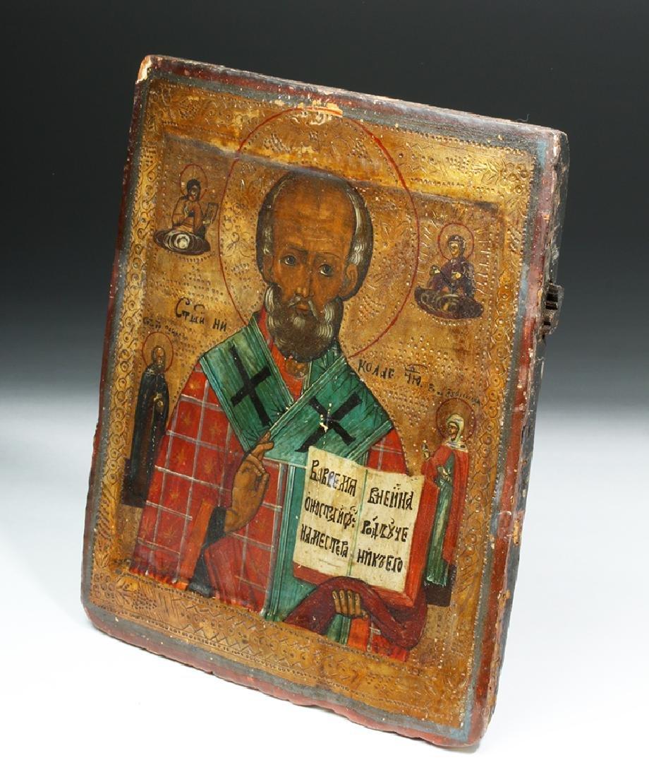 19th C. Russian Icon of Saint Nicholas - 3
