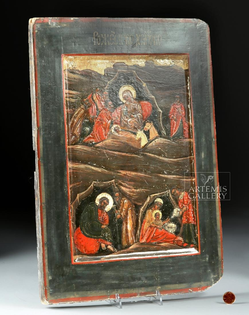 19th C. Russian Icon w/ Nativity Scene - Ox & Horse - 2