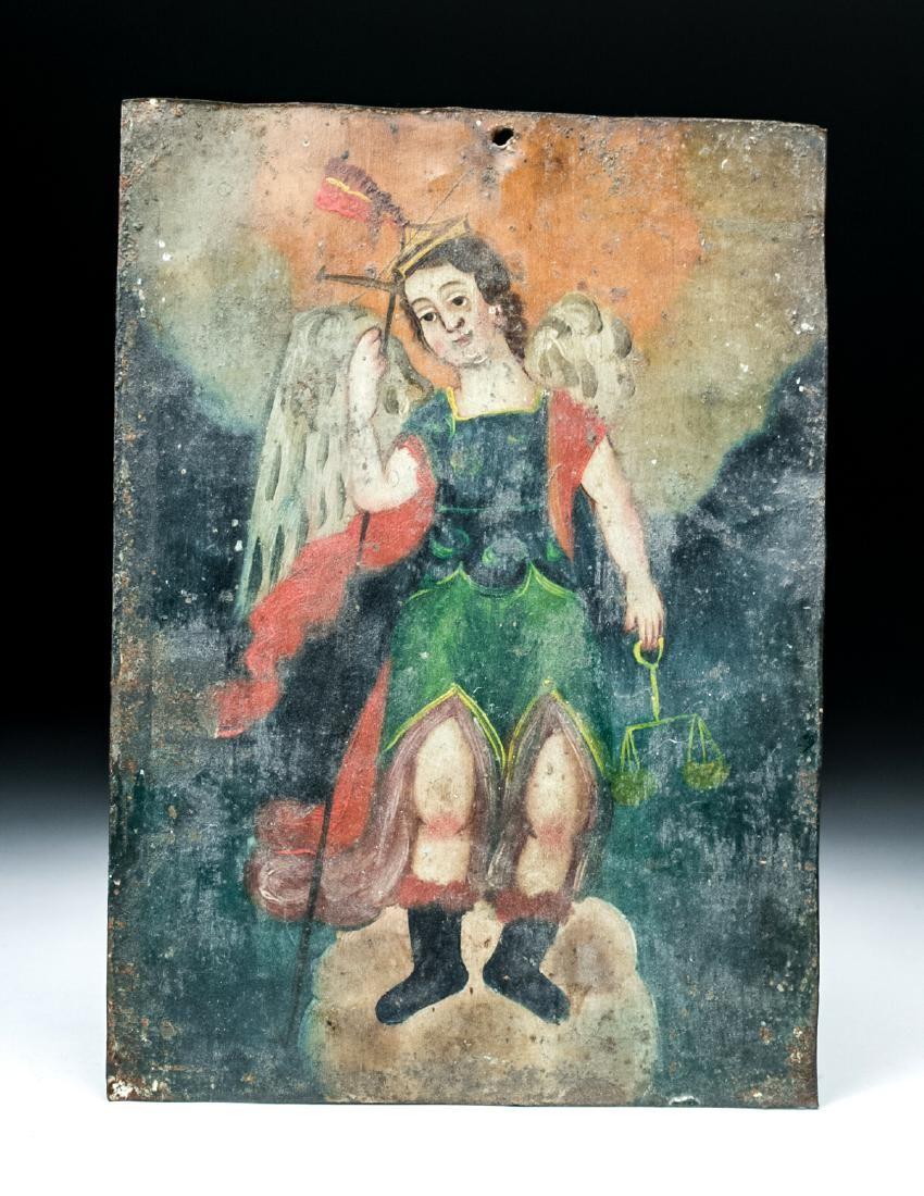 Early 20th C. Mexican Tin Retablo - San Miguel