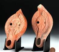 Lot of 2 Roman North African Redware Oil Lamps
