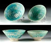 Lot of 2 Kashan Turquoise Glazed Pottery Bowls