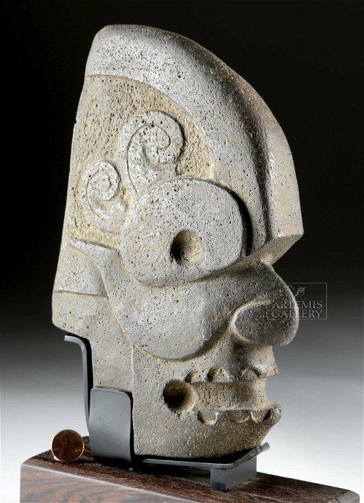 Very Fine Maya Stone Hacha - Human Skull