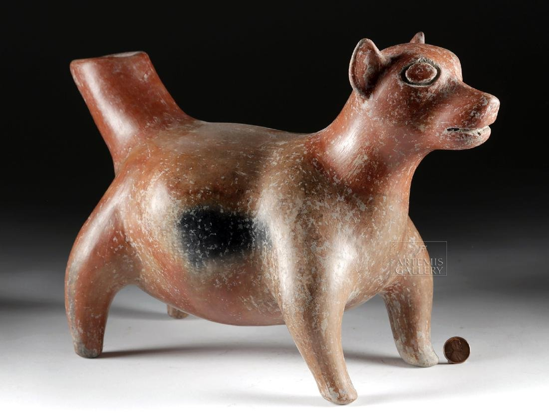 Huge Colima Redware Dog Effigy Vessel
