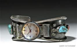 20th C. Navajo Silver, Turquoise, & Coral Watch Band
