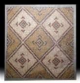 Large Roman Stone Mosaic w/ Geometric Design
