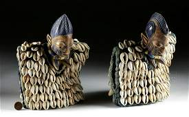 Pair of 20th C. Yoruba Painted Wood Ibeji w/ Shells