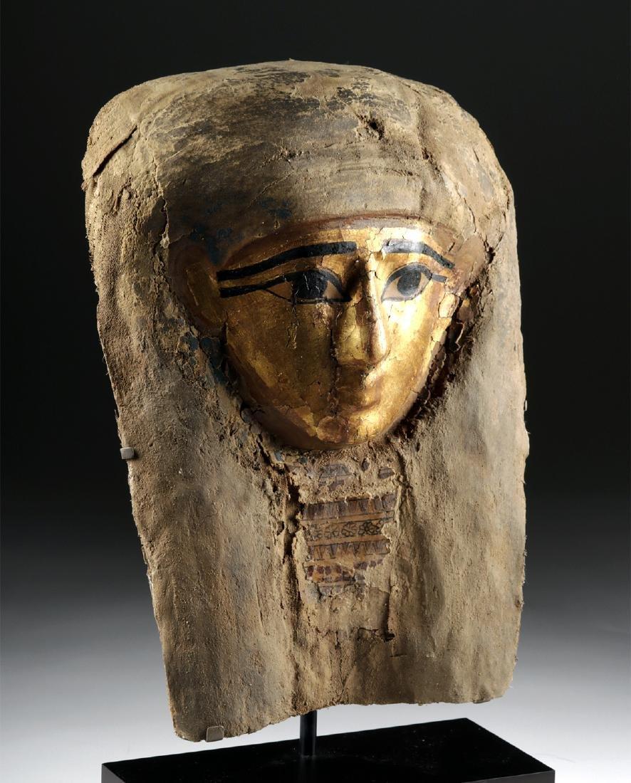 Egyptian Late Dynastic Gilt Cartonnage Mummy Mask