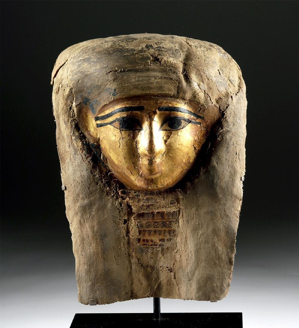Egyptian Late Dynastic Gilt Cartonnage Mummy Mask - 2