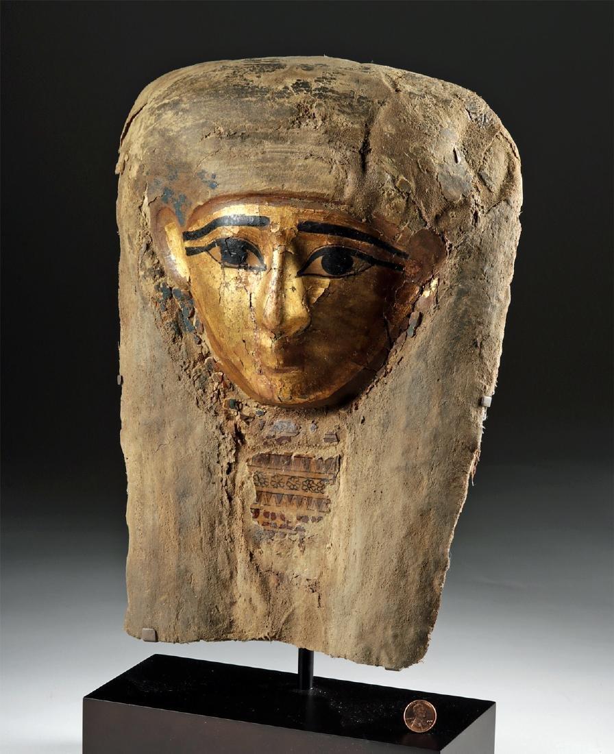 Egyptian Late Dynastic Gilt Cartonnage Mummy Mask - 3