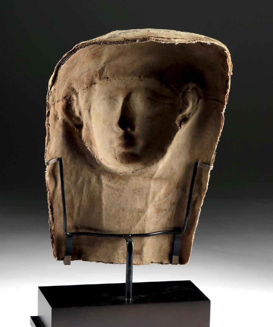 Egyptian Late Dynastic Gilt Cartonnage Mummy Mask - 4