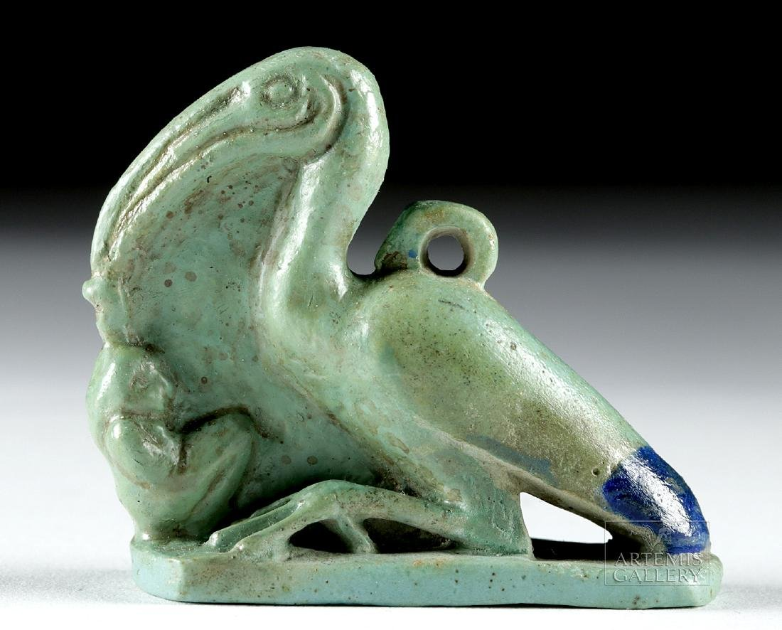 Egyptian Faience Amulet - Ibis w/ Maat - 2