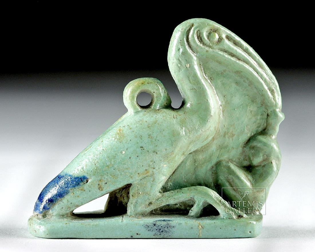 Egyptian Faience Amulet - Ibis w/ Maat - 4
